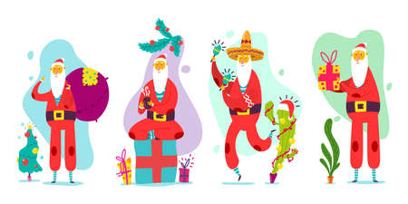 Cute Santa Claus with Christmas tree, bag and box of gifts, cup of coffee, in Mexican hat, maracas and cactus. Vector flat holiday funny character set isolated on white background.