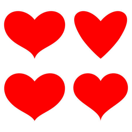 Red heart simple icons vector set isolated on a white background.