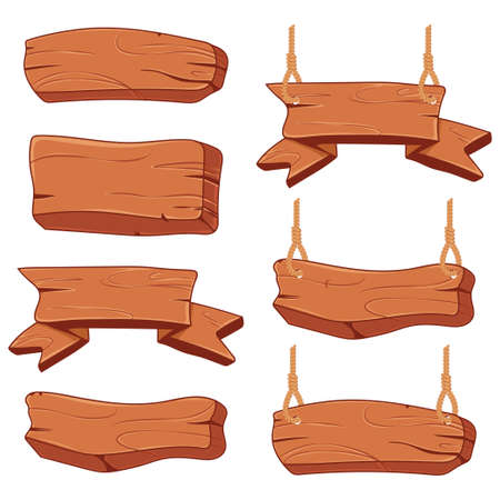 Cartoon wooden sign board vector set isolated on a white background.