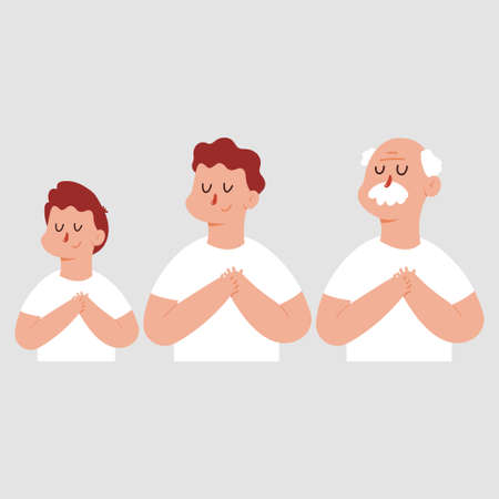 Grateful or dream man with chest hand and closed eyes. Vector cartoon characters set isolated on background. Иллюстрация