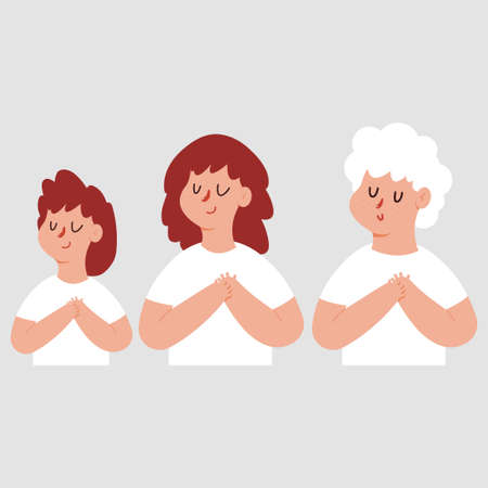 Grateful or dream womane with chest hand and closed eyes. Vector cartoon characters set isolated on background.
