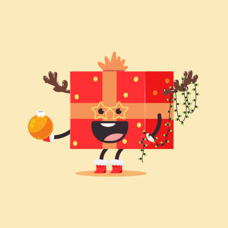 Funny Christmas gift box with bow, reindeer antler and light garland vector cartoon character isolated on background.