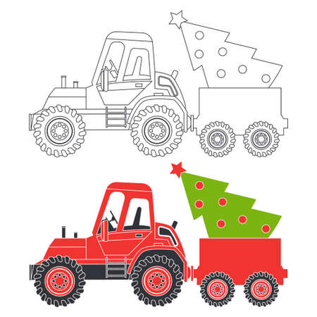 Red tractor with Christmas tree vector cartoon silhouette and coloring book page illustration isolated on a white background.