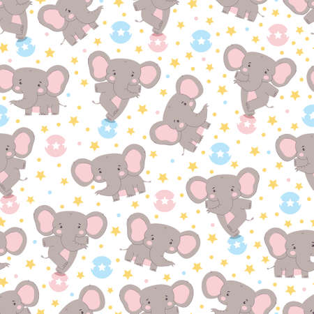 Cute elephant vector seamless pattern background for wallpaper, wrapping, packing, and backdrop.