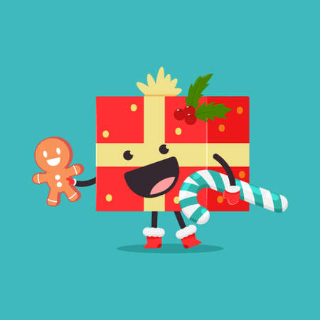 Cute Christmas gift box with gingerbread, candy cane and mistletoe vector cartoon character isolated on background.