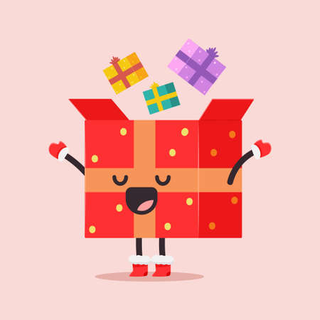 Cute Christmas gift box vector cartoon character isolated on background.