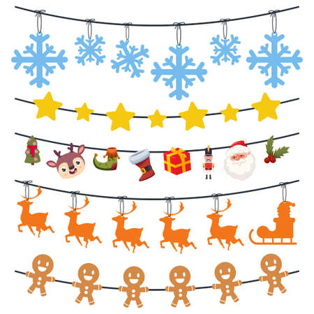 Christmas garland with snowflakes, reindeer, gingerbread, Santa Claus, gift box and tree. Vector cartoon set isolated on a white background. Иллюстрация