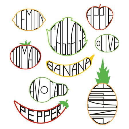 Fruit and vegetable vector flat icons set isolated on a white background.