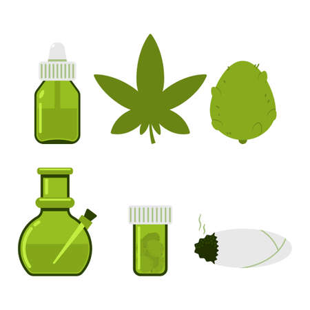 Cannabis leaf and accessories vector flat set isolated on white background.