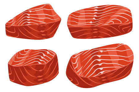 Raw salmon fillet pieces vector cartoon set isolated on white background.