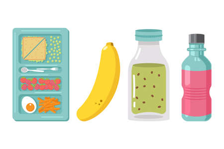 School lunch box element vector cartoon illustration isolated on a white background. Healthy food for kids.