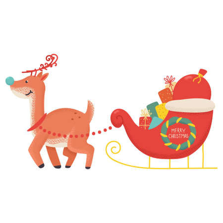 Funny Christmas reindeer with sleigh and gifts vector cartoon illustration isolated on a white background.