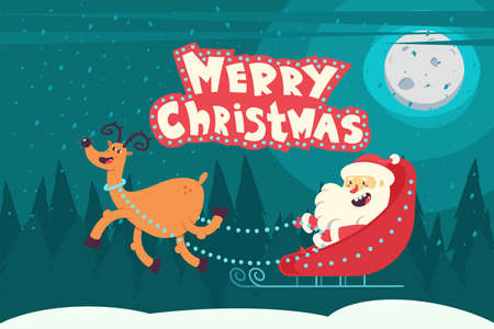 Santa Claus in a sleigh with reindeer flying over night winter landscape and Merry Christmas handwritten text. Cartoon vector illustration.