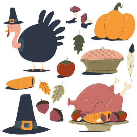 Thanksgiving day design elements vector cartoon set isolated on a white background.