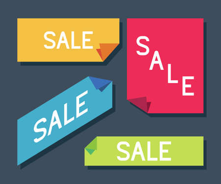 Sale label, sticker vector simple set isolated on background.