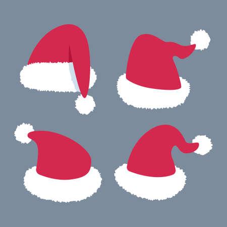 Santa Claus hat vector cartoon set isolated on background.
