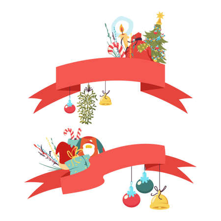 Christmas ribbon vector cartoon set isolated on a white background.