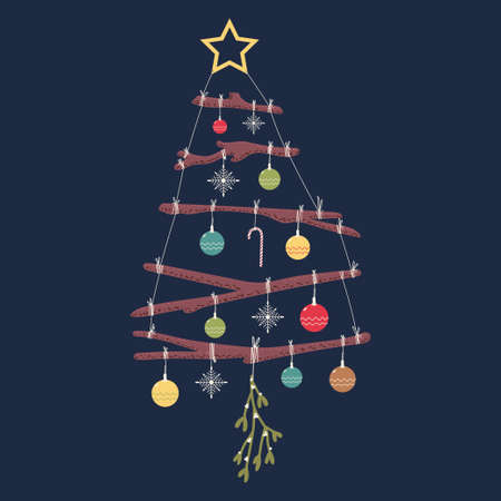 Christmas tree from twigs with balls and star on the top vector cartoon illustration isolated on background.