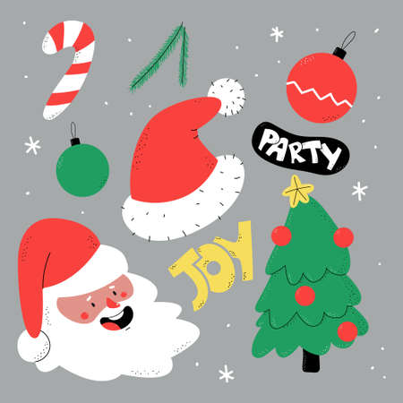 Hand drawn Christmas elements vector cartoon set isolated on background.