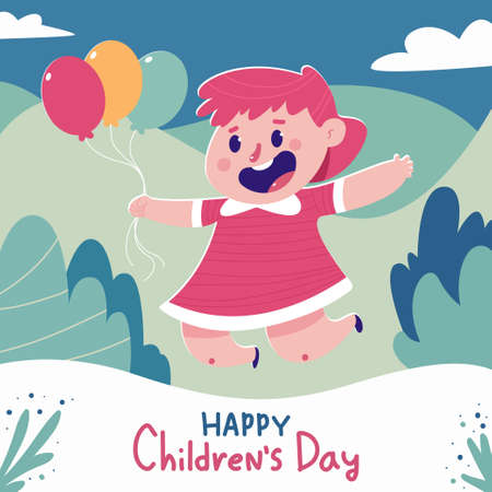 Happy Children's day vector cartoon poster with cute girl and balloons.