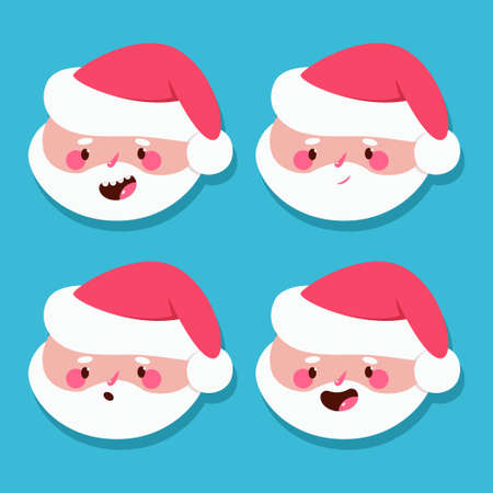 Funny Santa Claus head with different emotions vector cartoon set isolated on background.