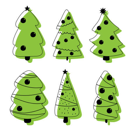 Christmas tree vector flat icons set isolated on a white background. Иллюстрация