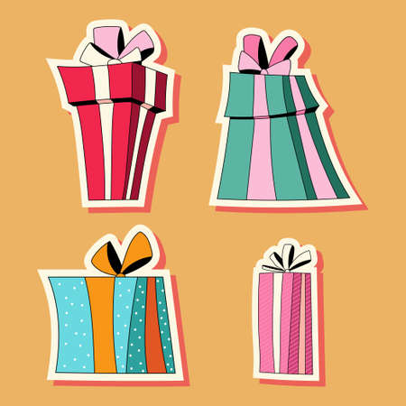 Gift box stickers vector cartoon set isolated on background. Иллюстрация