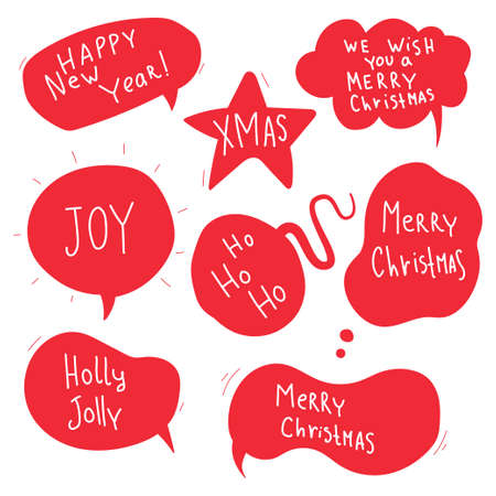 Christmas speech bubble with greeting quotes vector doodle set isolated on a white background.