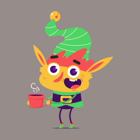 Cute Christmas elf with red coffee cup vector cartoon character isolated on background. Иллюстрация