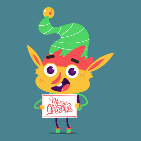 Cute elf with sign Merry Christmas vector cartoon character isolated on background.