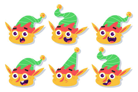 Christmas Elf face with different emotions vector cartoon set isolated on a white background. Иллюстрация