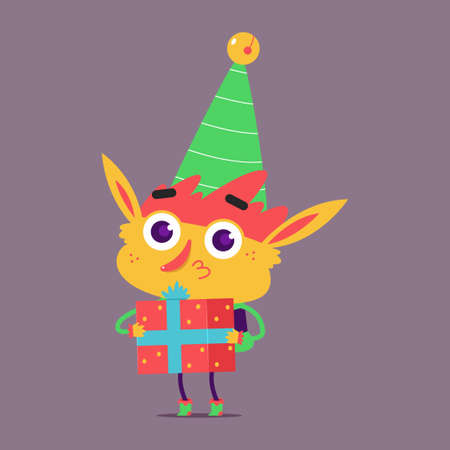 Cute Christmas elf with gift box vector cartoon character isolated on background.