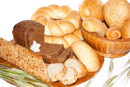 bakery products: assortment of baked bread isolated on white