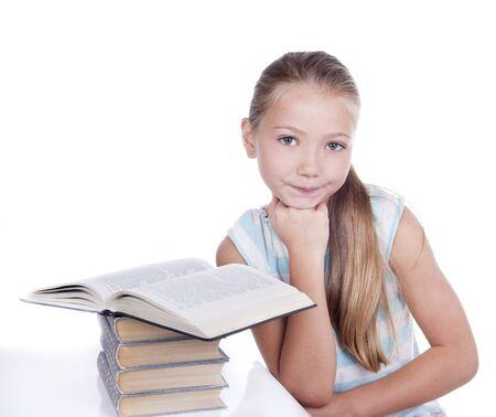 little girl reading homework