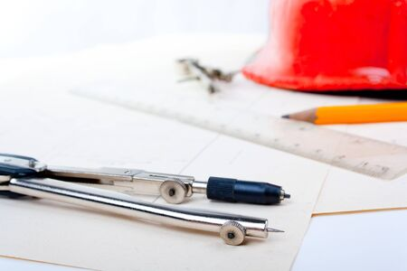 architect tools: The drawing and tools of the architect   Stock Photo