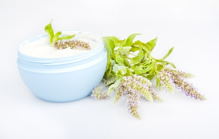Humidifying cream and melissa flowers