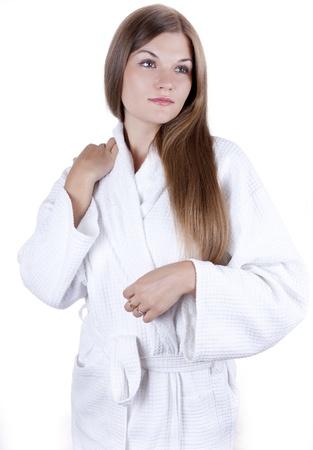 portrait of a beautiful girl in a bathrobe