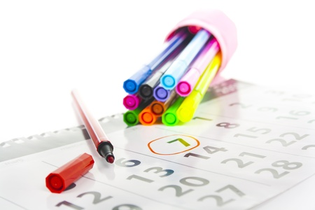 markers and date on the calendar