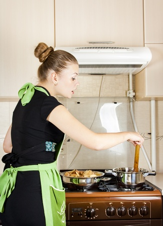young woman cooks dinner in the kitchen Stock Photo - 10644057