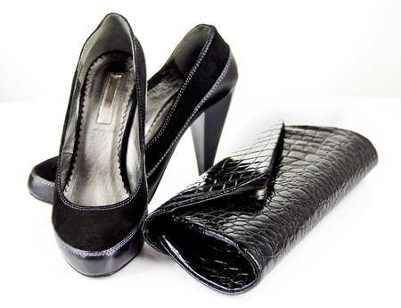 clutch and shoes with heels Stock Photo