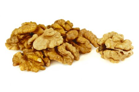 walnuts, hazelnuts and almonds isolated on a white background Stock Photo