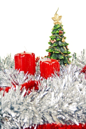 red Christmas candles and toys Stock Photo