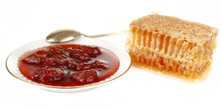 honeycomb with jam at the plate Stock Photo - 12055218