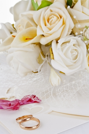 wedding bouquet and rings for Valentines Day