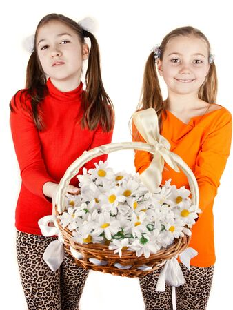girl friends give a bouquet of flowers