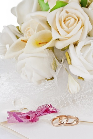 wedding bouquet and rings for Valentines Day photo