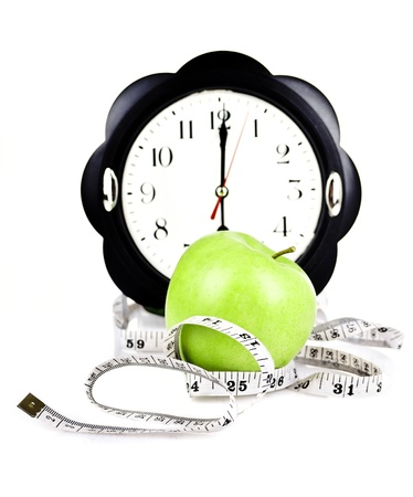measuring meter and diet apple Stock Photo