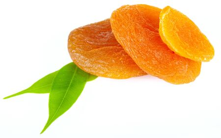 delicious dried apricots isolated on white Stock Photo