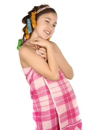 Girl after shower in curlers  photo