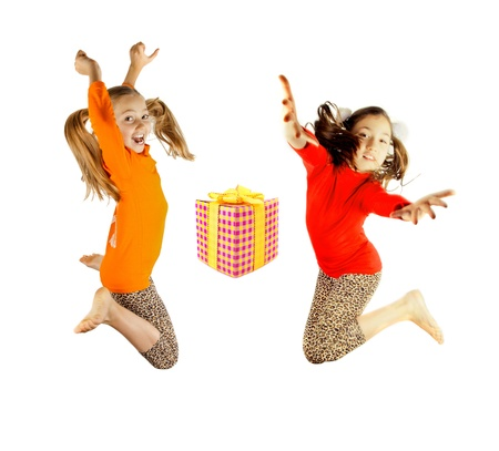 two little girls played and jumping photo